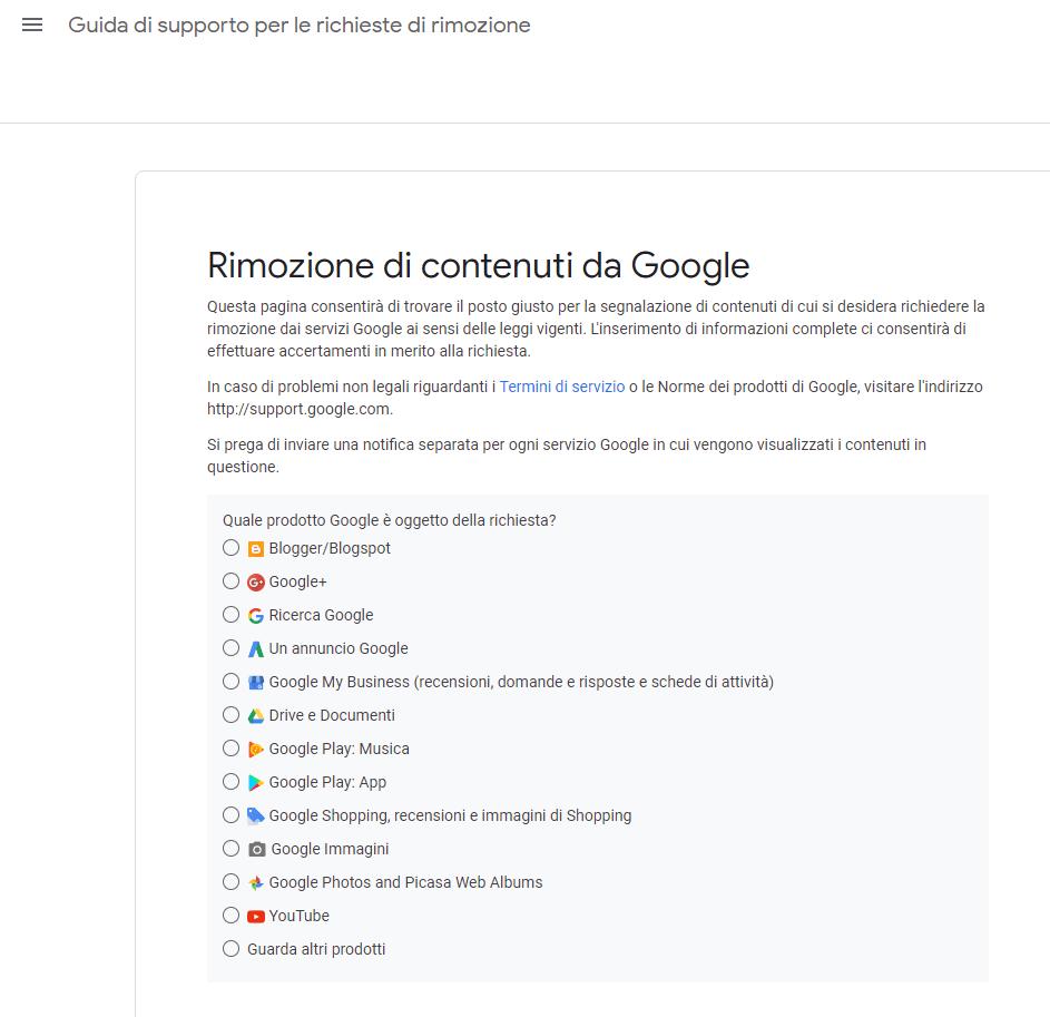 come segnalare a google i contenuti da rimuovere
