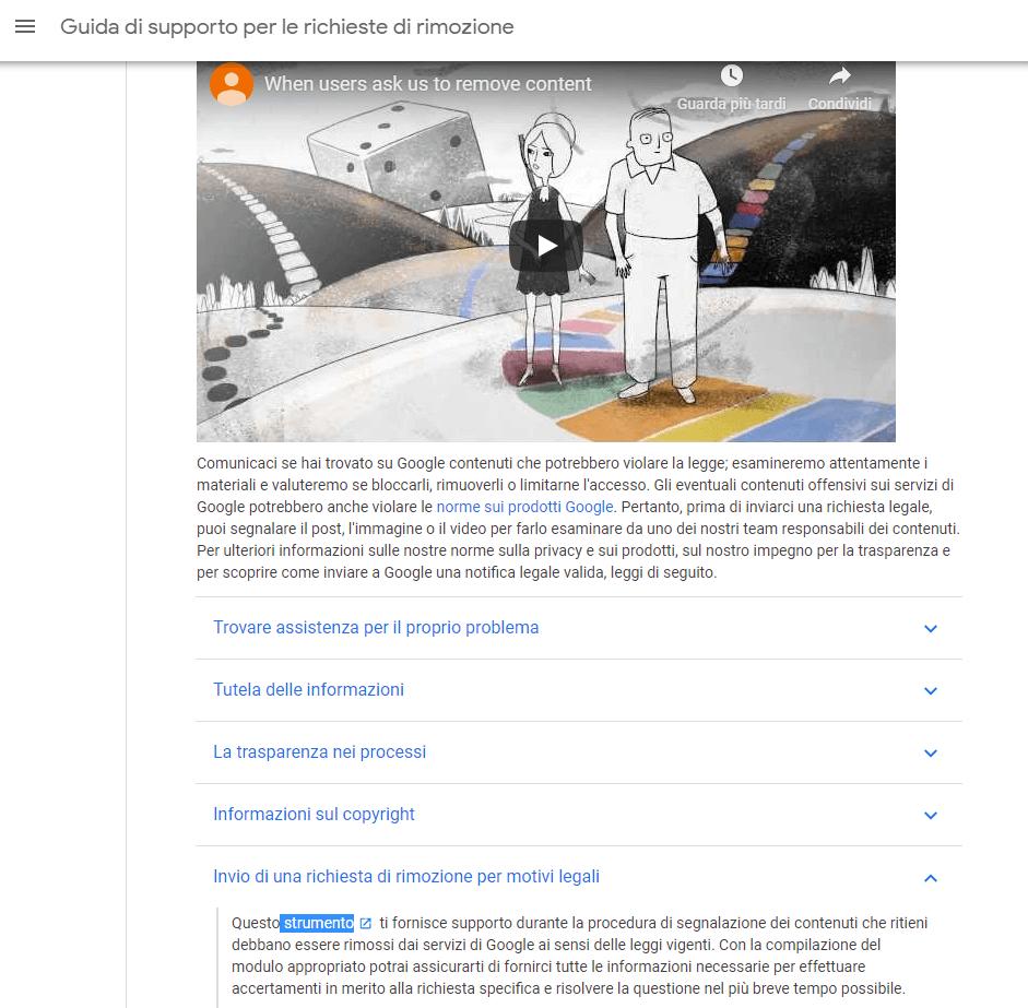 supporto richiesta rimozione google