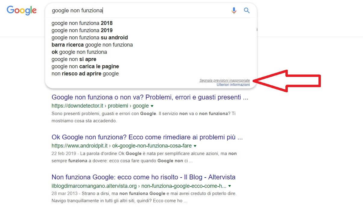segnalare previsioni di ricerca inappropriate da parte di google suggest